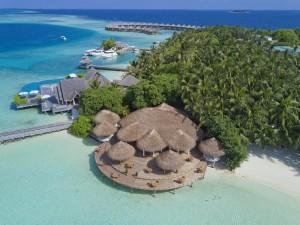Sicht auf die Insel und das Resort